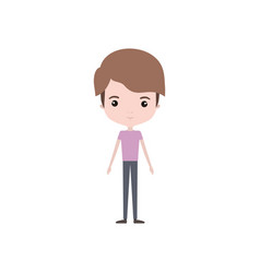 Colorful caricature thin boy in clothes with vector