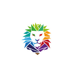colorful lion head logo vector image