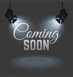 coming soon concept with spotlights on stage vector image