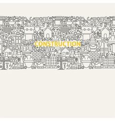 Construction line art seamless web banner vector