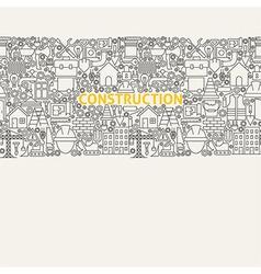 Construction Line Art Seamless Web Banner vector image vector image