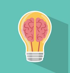 creative brain light bulb vector image