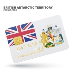 Credit card with British Antarctic Territory flag vector