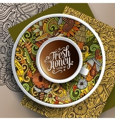Cup of coffee Honey doodles on a saucer paper and vector image