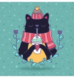 Cute cartoon Merry Christmas card with cat vector