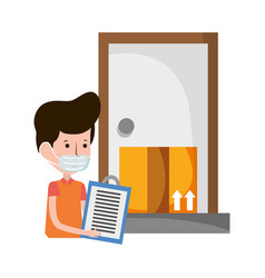 Delivery man with clipboard and box house vector