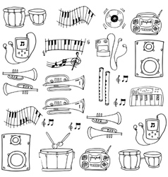 Doodle of hand draw music tools vector
