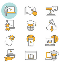 e-learning distance education flat line icon set vector image