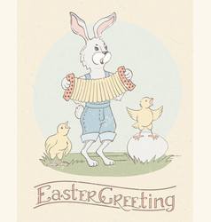 easter bunny and chicks - happy easter greeting vector image