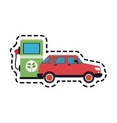 Eco friendly gas pump and car icon image vector