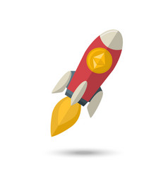 Ethereum chrystal on a rocket vector