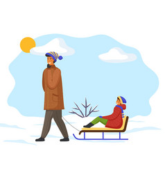 father rides daughter on sled snow icy bush vector image