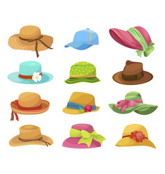 Female and male summer hats flat vector