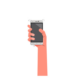 female hand with phone - concept flat vector image