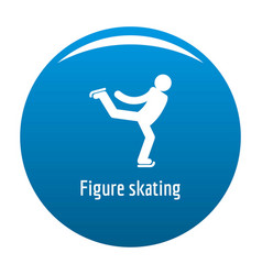 Figure skating icon blue vector
