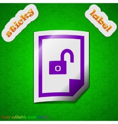 File unlocked icon sign Symbol chic colored sticky vector