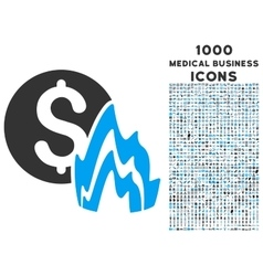 Fire Disaster Price Icon with 1000 Medical vector