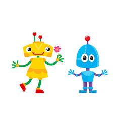 flat cartoon funny girl and boy robots vector image
