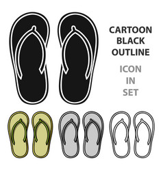 Flip-flops icon in cartoon style isolated on white vector