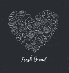 Fresh bread heart poster vector