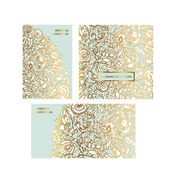 gold and mint color folk decorative pattern vector image