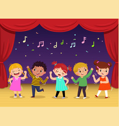 Group kids dancing and singing a song vector