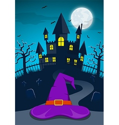 halloween night background with witch hat vector image