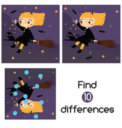 halloween witch fly on broom find differences vector image