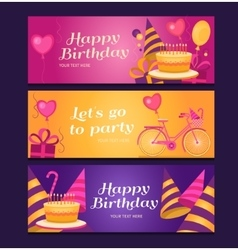 Happy birthday banners collection vector