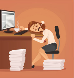 Hard work tired unhappy office worker woman vector