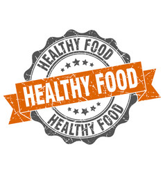 Healthy food stamp sign seal vector