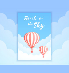 hot air balloon sky adventure holiday promo offer vector image