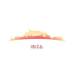 ibiza skyline silhouette design colorful vector image