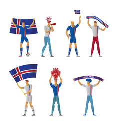 iceland football fans cheerful soccer vector image