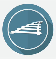 Icon railroad on white circle with a long shadow vector