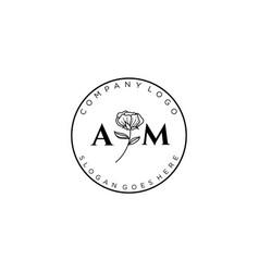 Initial am letters botanical feminine logo vector