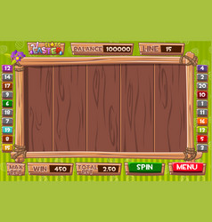 Interface slot machine in wooden style vector