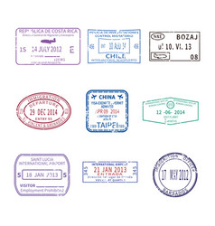 International travel visa stamps for passport set vector
