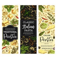 Italian cuisine pasta and macaroni sketch banners vector