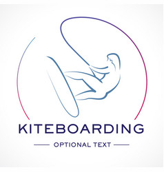 kitesurfing logo and text for designs vector image