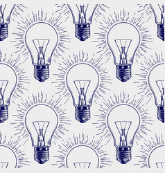 lamp bulb sketch seamless pattern vector image