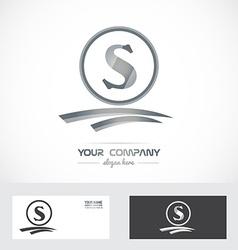 Letter s silver grey logo vector