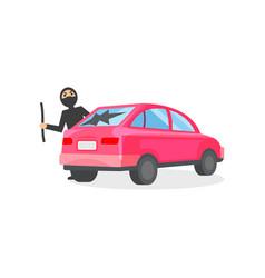 Man in black mask broke window in pink automobile vector