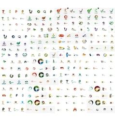Mega set of geomeric lettering company logos vector image
