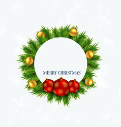 merry christmas frame with balls and xmas tree vector image