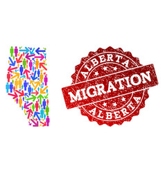 Migration collage of mosaic map of alberta vector