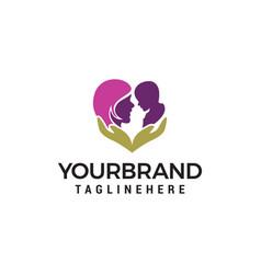 Mom baby care logo design concept template vector