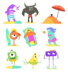 Monsters On The Beach Set vector