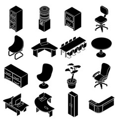 Office furniture icons set simple isometric style vector