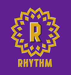 Optical illusion rhythm logo in round moving frame vector